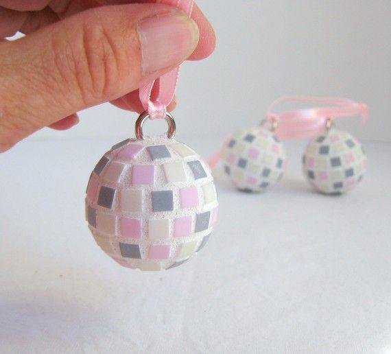 Mini pink  grey and cream  hanging mosaic balls  set by Sigmosaics, $27.00
