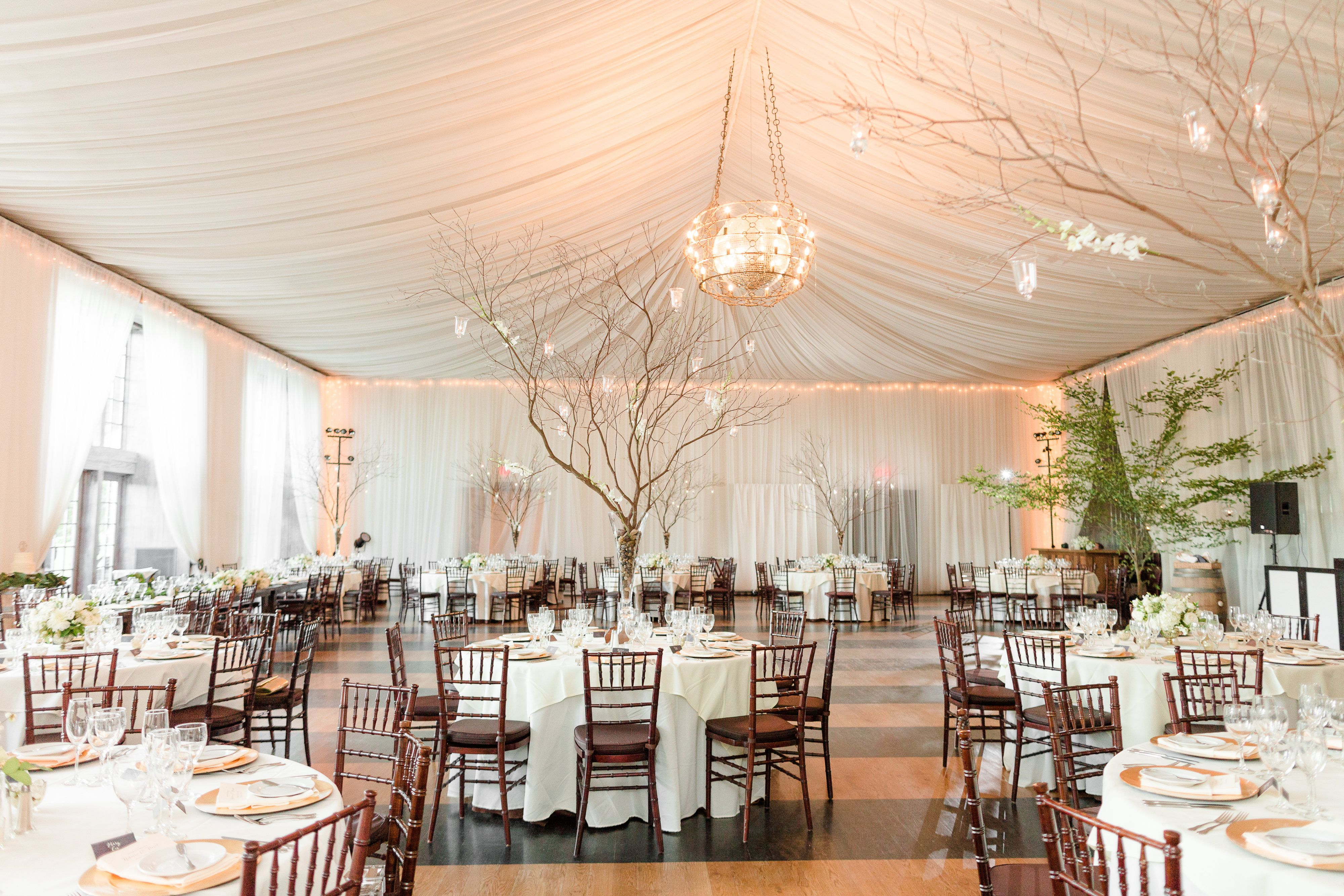 Indoor Reception With Large Tree Branch Centerpieces A Veritas Vineyard Winery Wedding In Charlottesville Virginia Photos By Katelyn James Photography