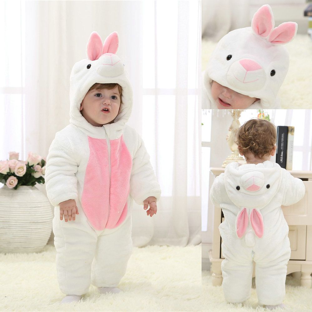5c17afc50 White Rabbit Kigurumi Baby Onesies Bunny Flannel Pajama Winter ...