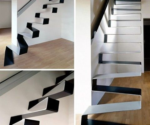 The Ribbon Stairs Were Constructed From 10mm Thick Sheet Metal Modern Staircase Modern Stairs