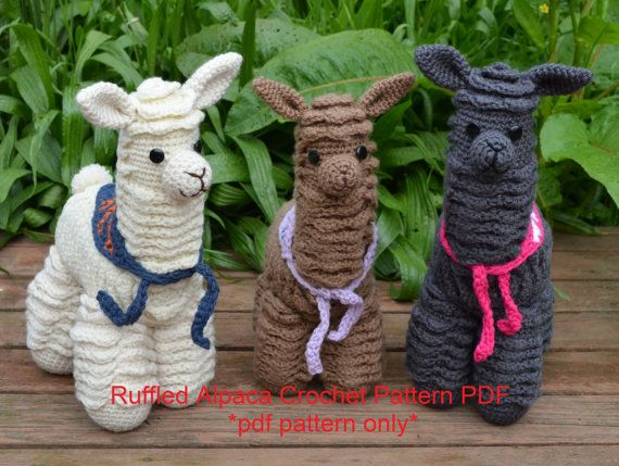 Create your very own amigurumi alpaca with this detail pdf pattern. This listing is for the PDF PATTERN ONLY, not the finished alpaca. Ruffled Alpaca is an amigurumi alpaca made using a special technique. Using the front and back loops, the alpaca is crocheted with layers of shells that give him an authentic texture. Ruffled Alpaca is made using any worsted weight yarn, and is stuffed with polyester fiberfill. You will need between 375-425 yards. Use alpaca yarn for extra fun and luxury! I…