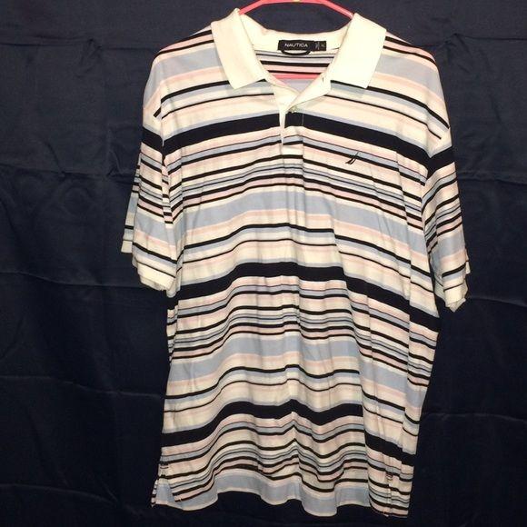 Nautica Mens XL Striped Polo Shirt Gently worn Nautica Mens XL Striped Polo  Shirt. Colors 73ff129c0