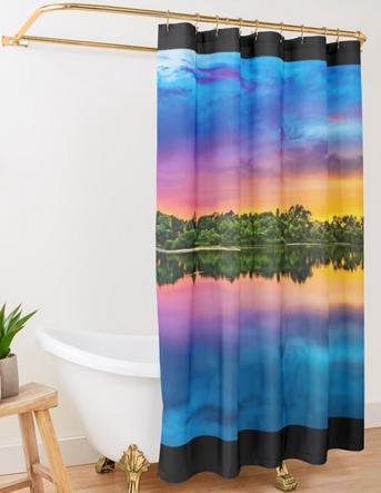 Glorious Sunset Over Rainforest Shower Curtain By Azule1 Rainforest Shower Bathroom Shower Curtains Curtains