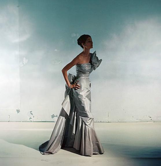 1948 Model in gray silk taffeta evening gown by Ladislas Czettel, photo by Horst