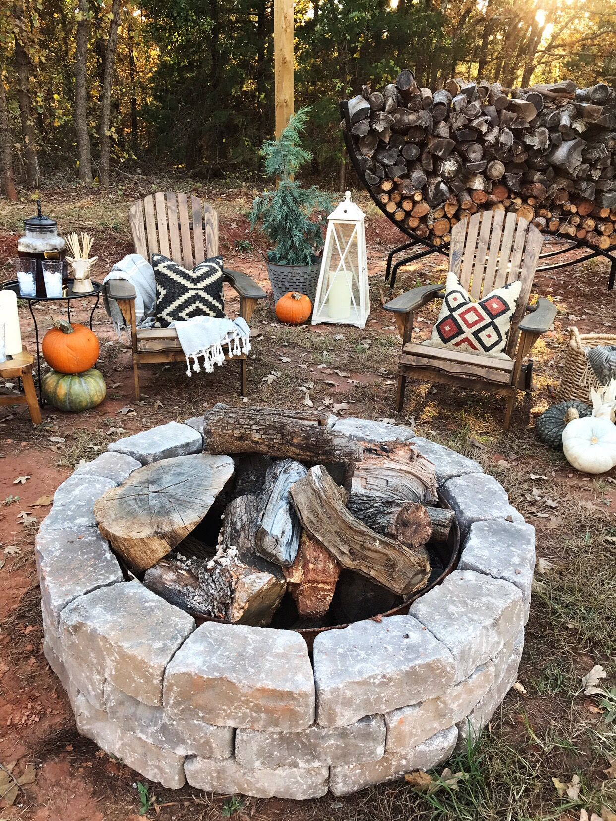 DIY firepit area on a budget The Spoiled Home Fire pit