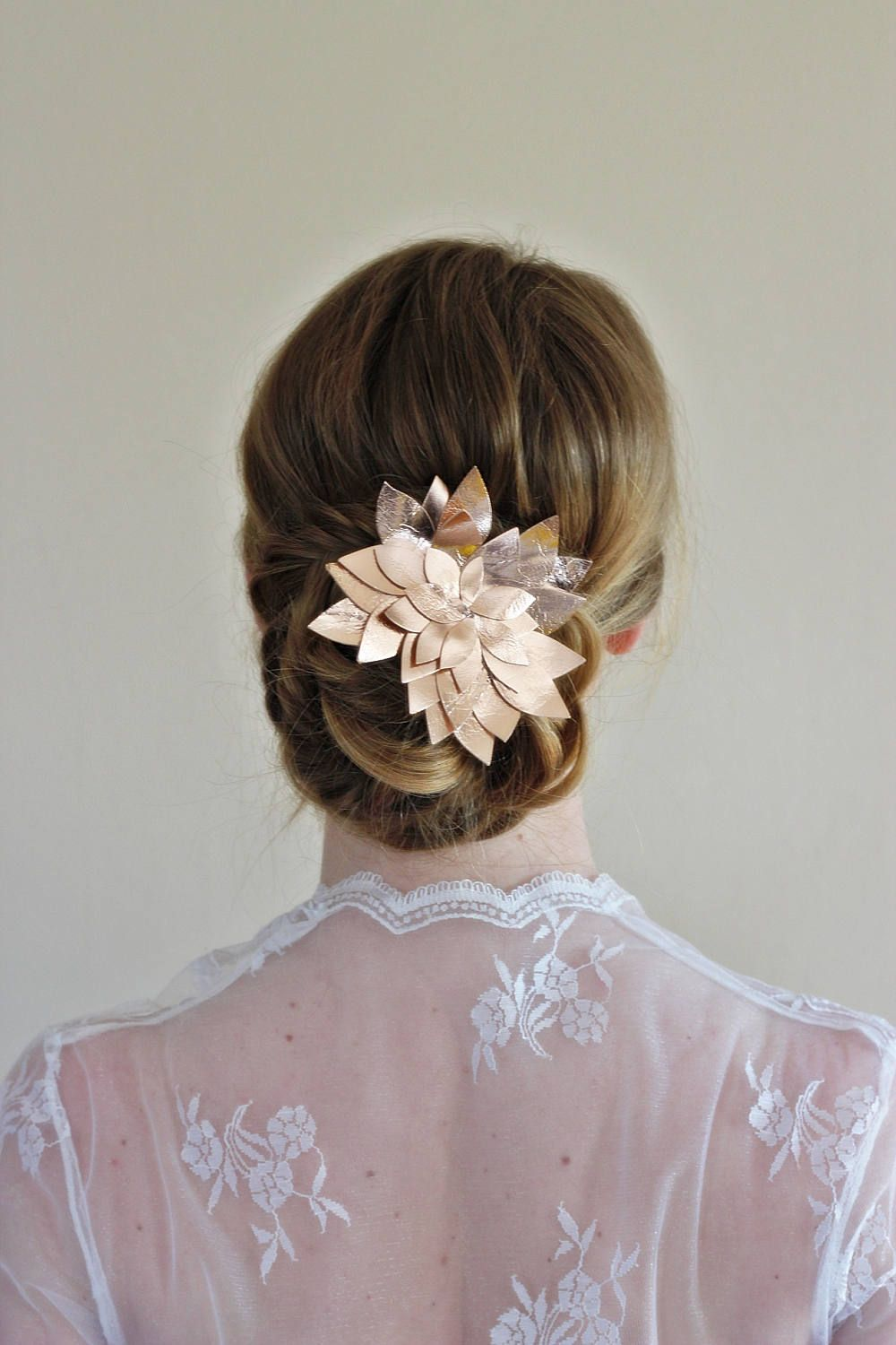 rose gold bridal hair clip,rose flower bridal hairpiece, rose gold
