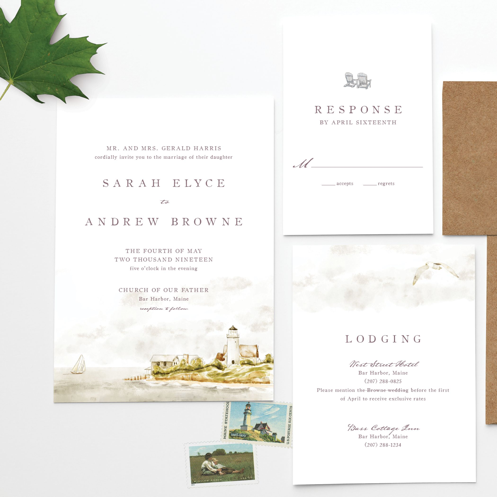 Acadia Watercolor Wedding Invitation Perfect For Massachusetts