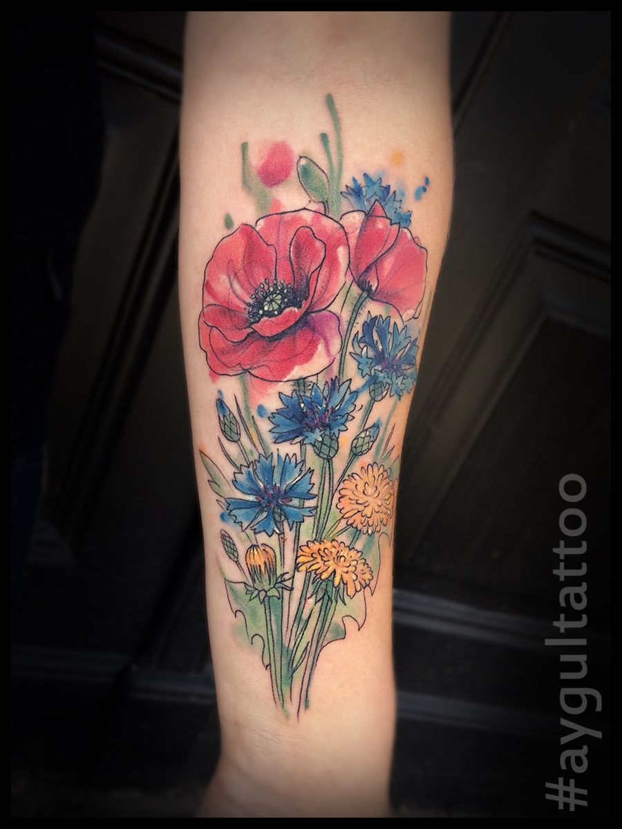 Image result for wolf bike flowers tattoo Flower tattoos