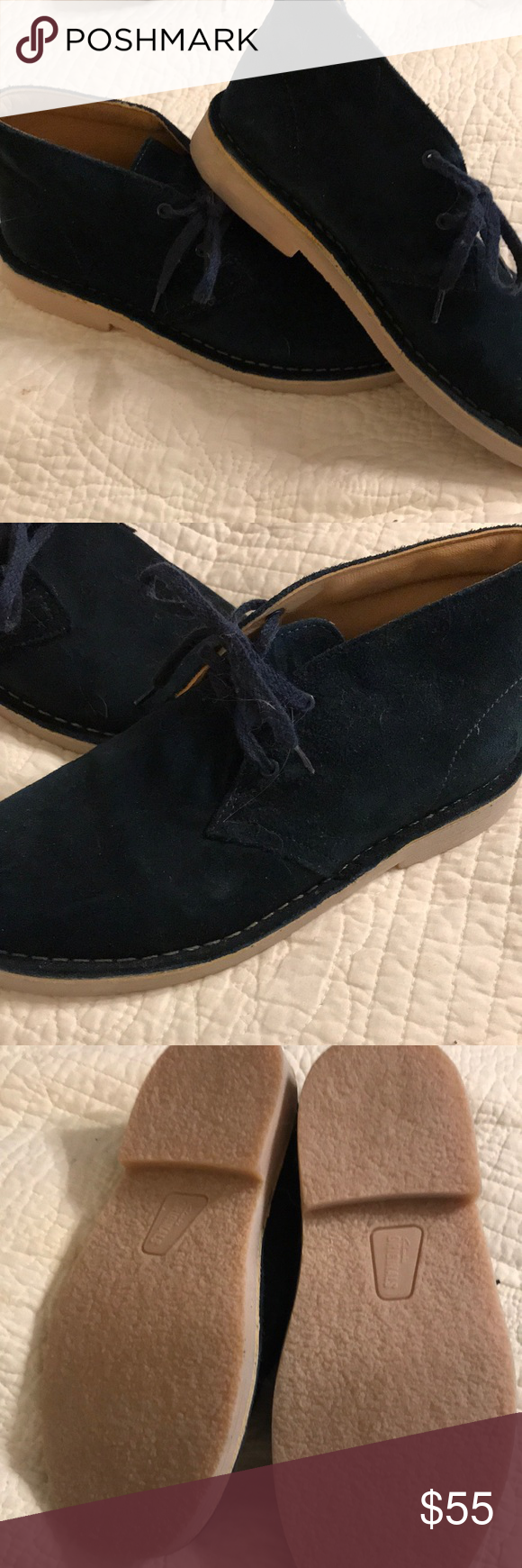 Clark's indigo blue suede desert books Sz 3 bk These Clark boots are like  new navy indigo Suede I think my Daughter wore them one time if that.