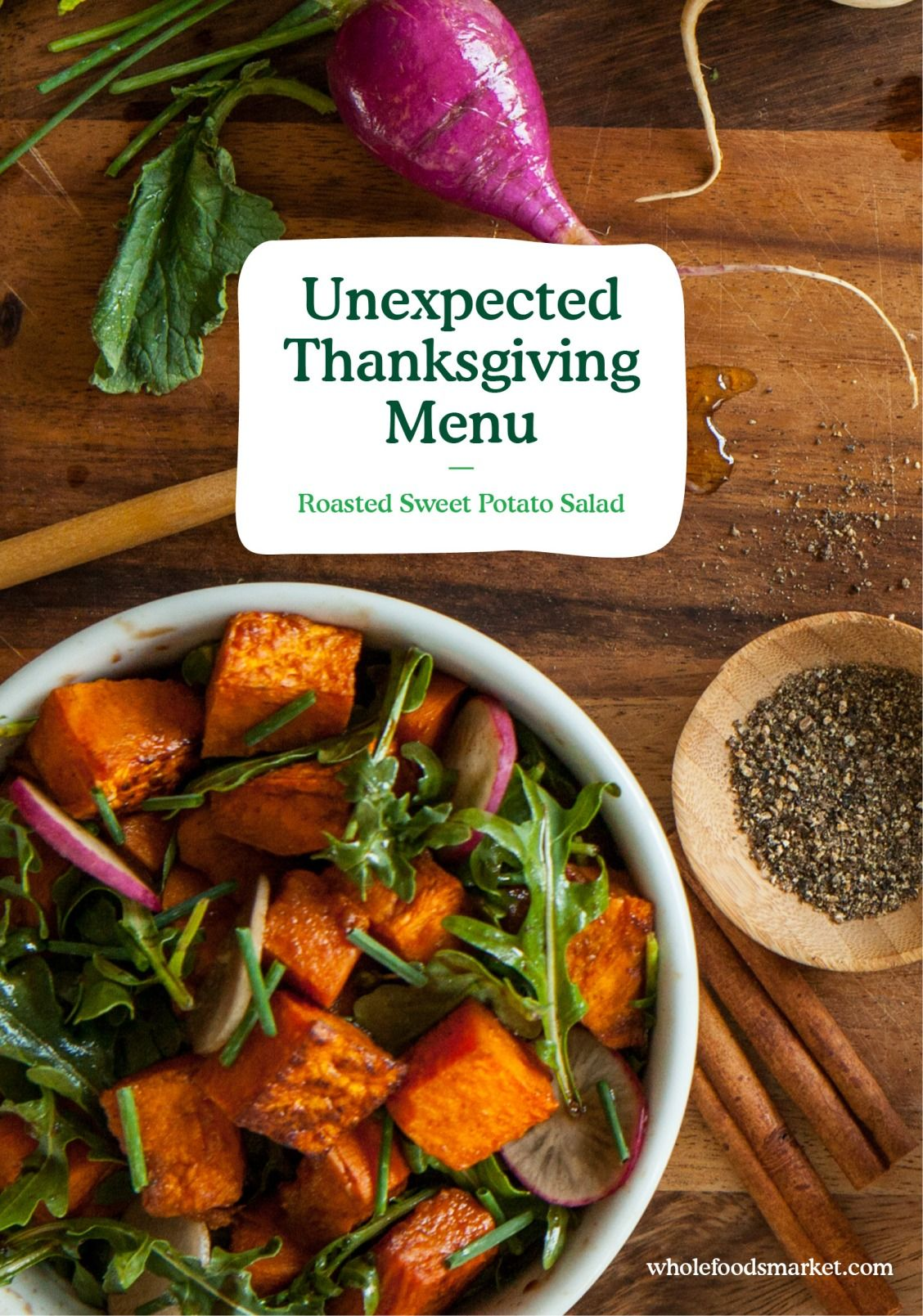 Unexpected Thanksgiving Salad with sweet potato