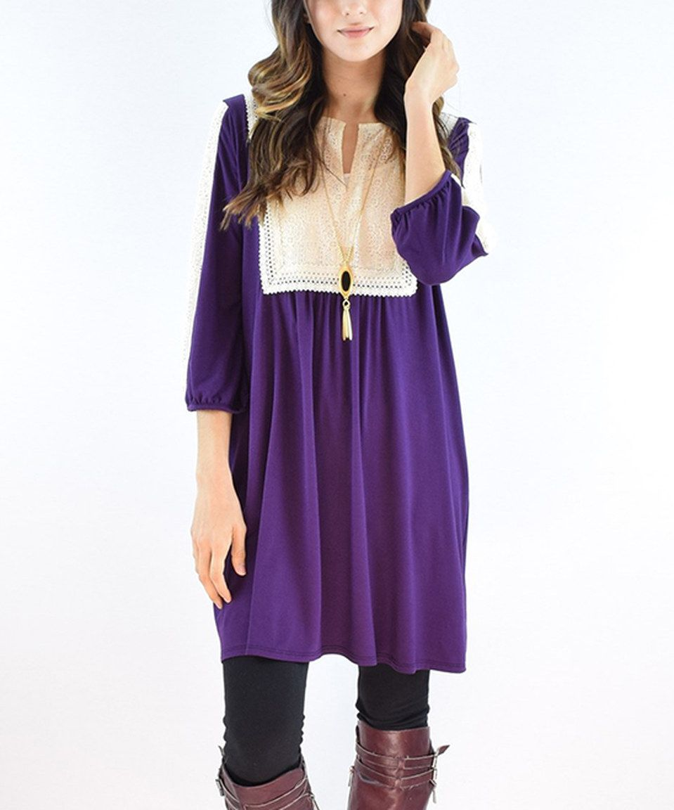 Look at this #zulilyfind! éloges Purple Lace Notch Neck Tunic by éloges #zulilyfinds