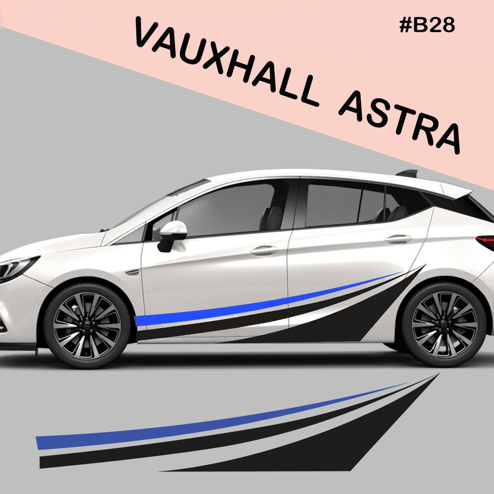 Fits Vauxhall Astra Side Racing Stripes Decal Graphics Tuning Car