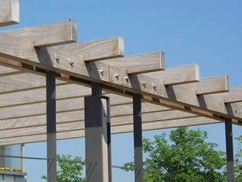 Stahl Holz Konstruktionen Mit Geraden Pfetten Pergola Pergola Plans Pergola Curtains