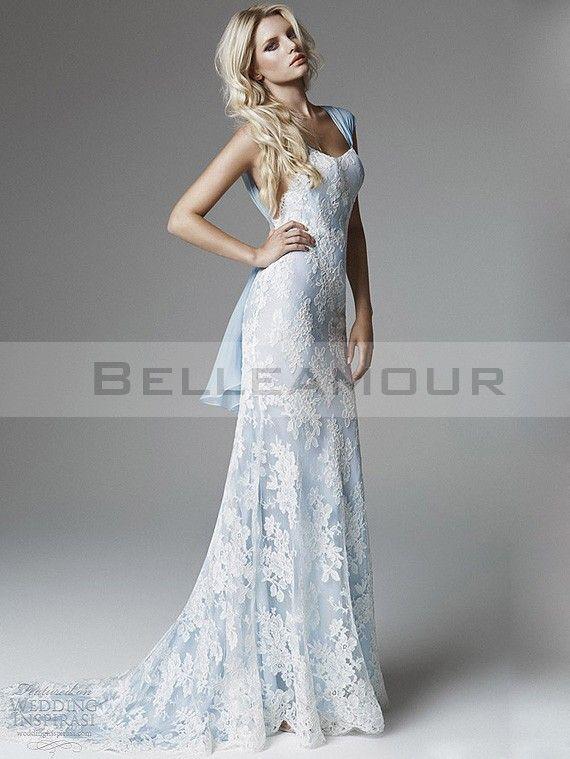 Robe De Mariée Dentelle Blanc Bleu Longue Sirène Mousseline