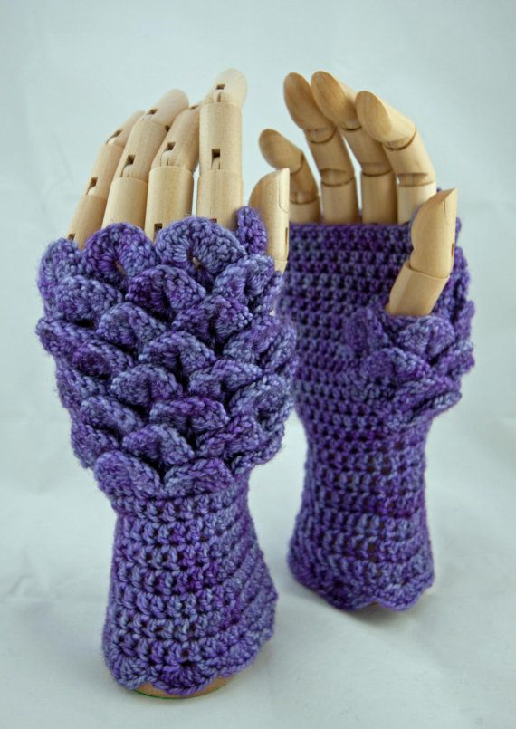 Crochet pattern fingerless gloves dragon scale by ZarrinHandmade ...