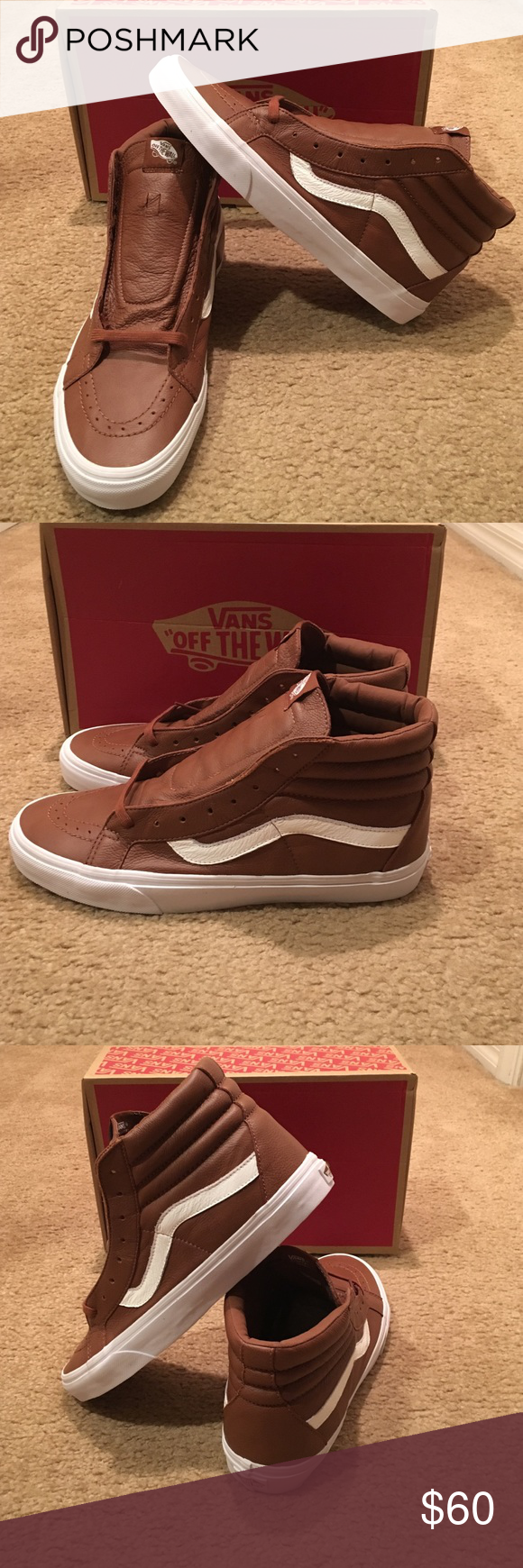 a49fde3431bbf3 Vans SK8-Hi Reissue Premium Leather Sneakers New in box. Unisex. Tortoise  Shell White Vans Shoes Sneakers