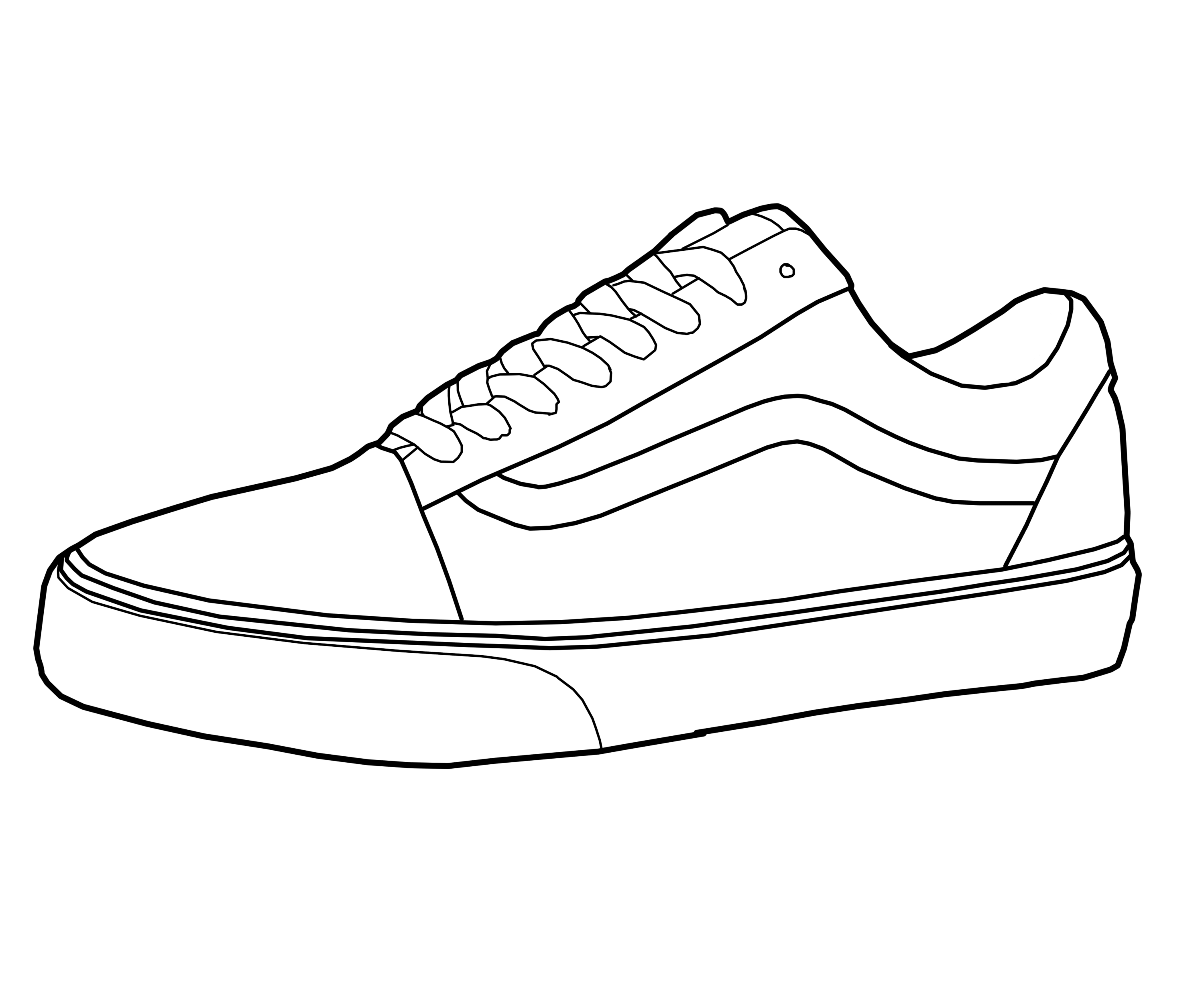 Vans Shoe Drawings Sketch Coloring Page