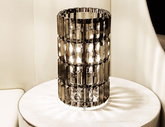 Rainbow luxury designer italian table lamp shown in smoked grinded crystals with a chrome frame available in smoked grinded crystals with a chrome frame
