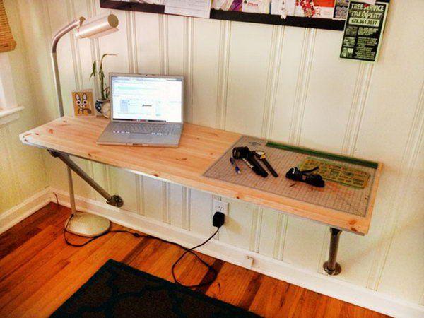 15 Diy Computer Desk Ideas Tutorials For Home Office Wall Mounted Desk Diy Computer Desk Wall Mounted Table