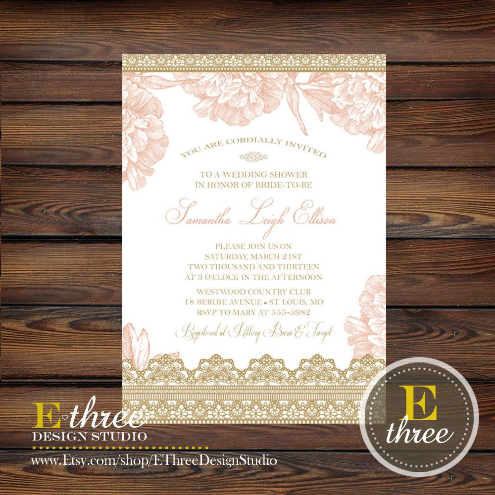 Blush and Gold Bridal Shower Invitation - Lace and Floral Romantic ...