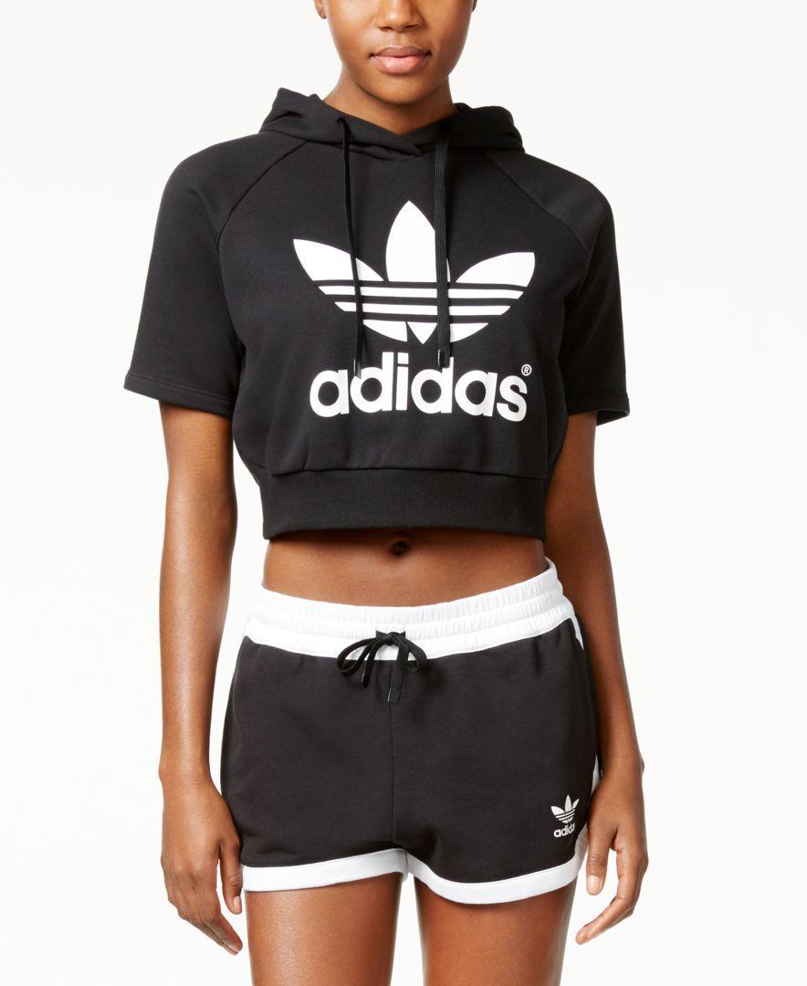 Adidas Originals Cropped Hoodie Tops Women Macy S Cropped Hoodie Cropped Hooded Sweatshirt Crop Top Hoodie [ 1080 x 884 Pixel ]