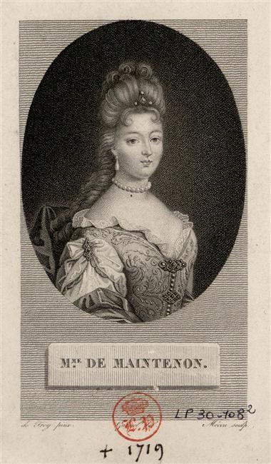 Françoise d'Aubigné, marquise de Maintenon - gravure de Joseph André d'après François de Troy, début du XVIIIème siècle