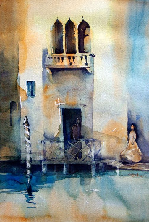 Venise Ombre Et Lumiere Peinture 50x70 Cm C 2014 Par Isabelle