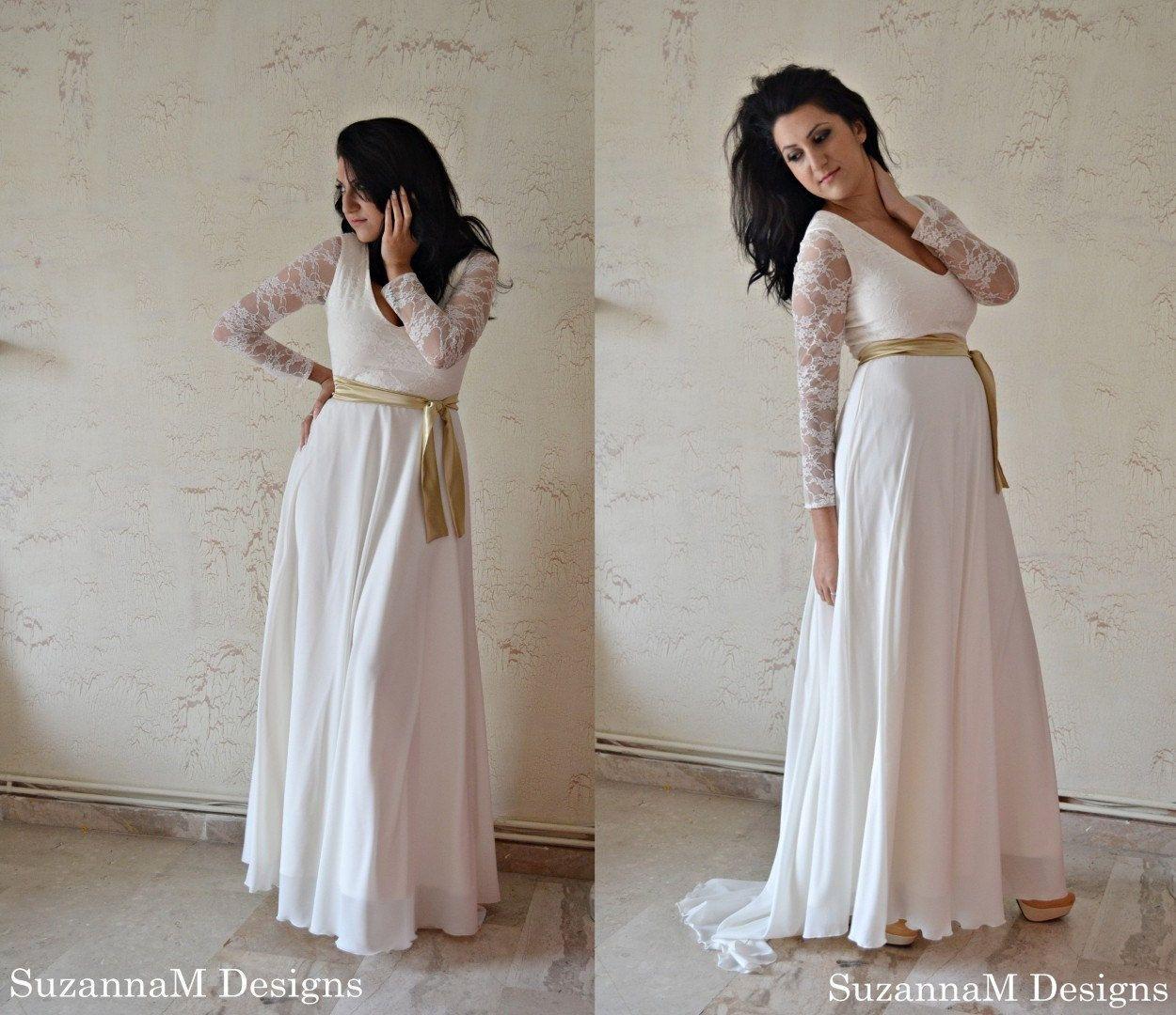 boho wedding dress, lace wedding dress, simple wedding dress