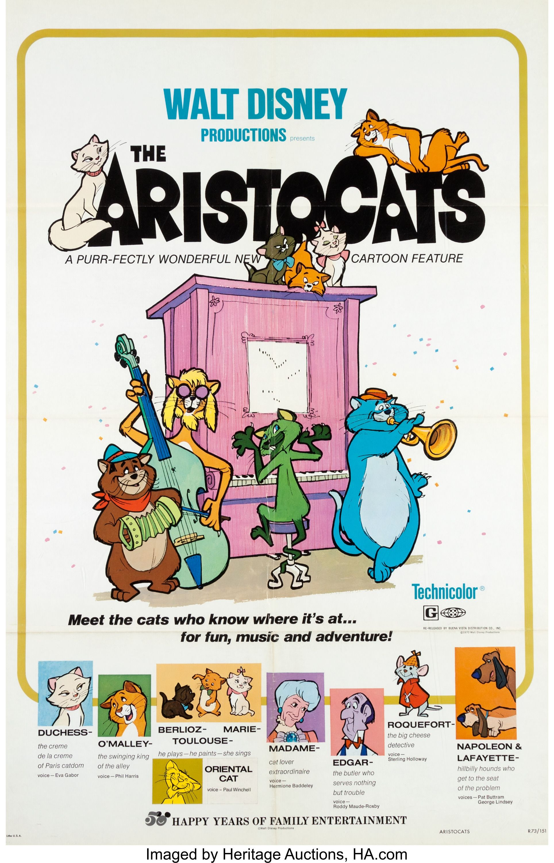 The Aristocats Theatrical Poster (Walt Disney, 1970
