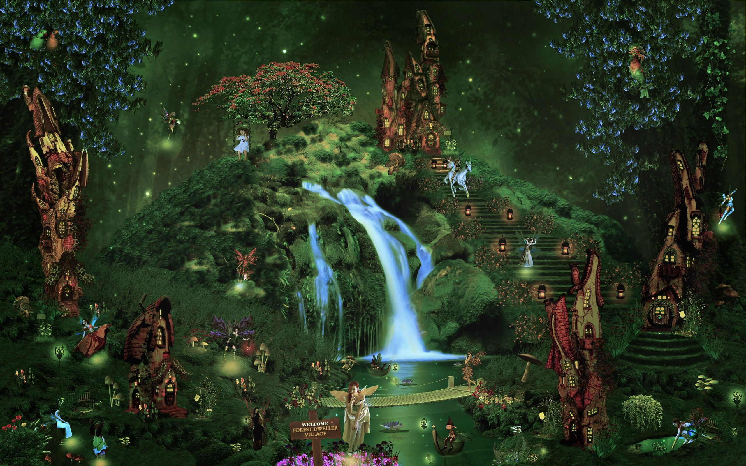 Castle City Forest Waterfall Fairy Elf Magical Wallpaper Background Fairy Wallpaper Forest Fairy Forest Waterfall