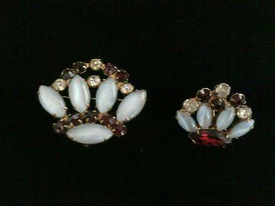 Vintage Rhinestone Crown Brooch/Pendant & Earring (missing matching earring) $10