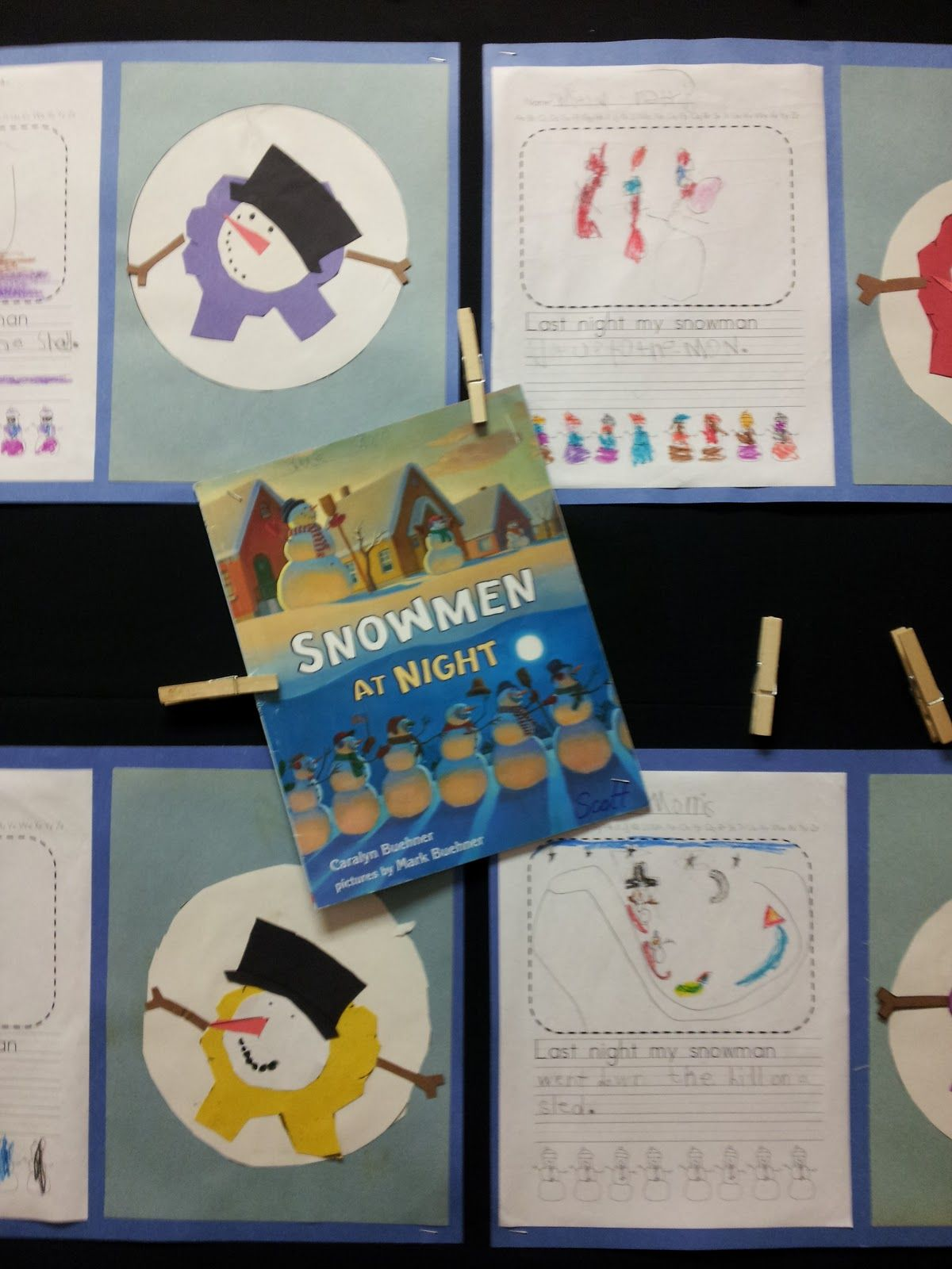 snowmen at night writing activity for middle school