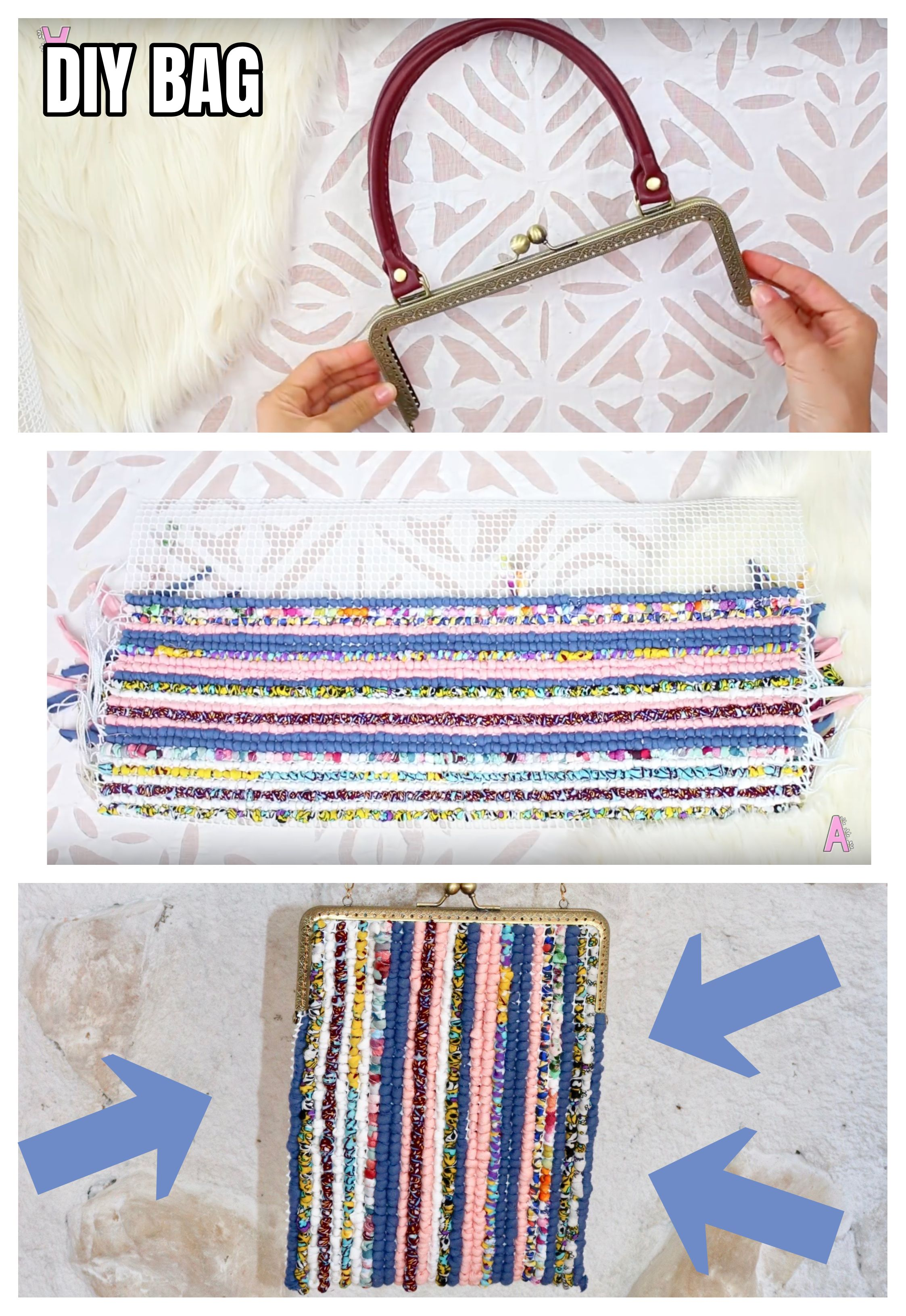 bf4109035 DIY very easy and cheap BAG from scrap of fabric (YOUTUBE TUTORIAL) - DIY
