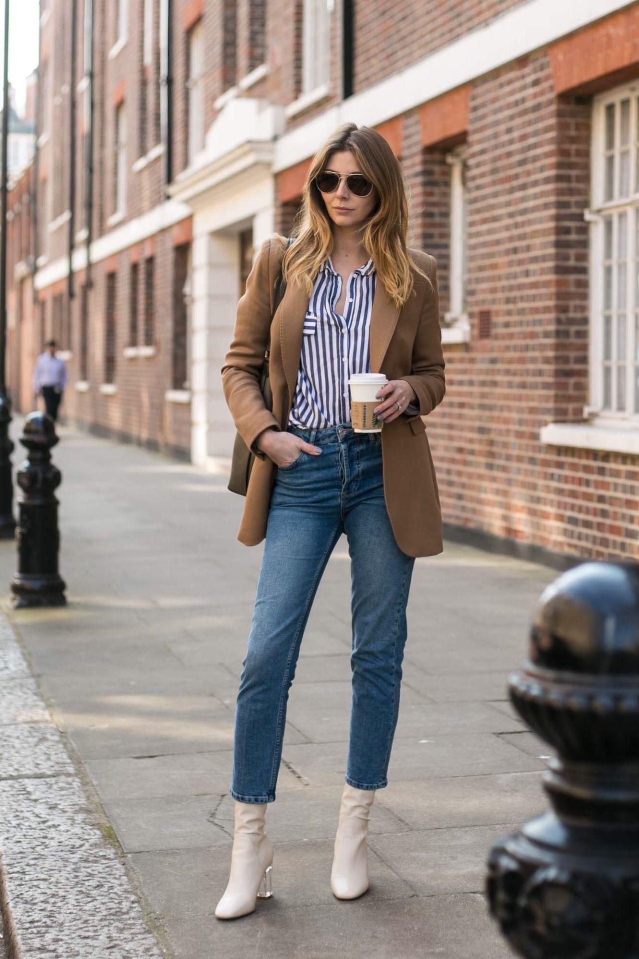 striped shirt, camel blazer.
