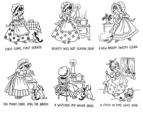 Vintage-1950s-Hand-Embroidery-Pattern-Kitchen-Proverbs | 자수 도안 ...