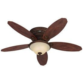 Hunter 52 In Avignon Low Profile Tuscan Gold Indoor Ceiling Fan With Light Kit Ceiling Fan Hunter Ceiling Fans Ceiling Fan With Light