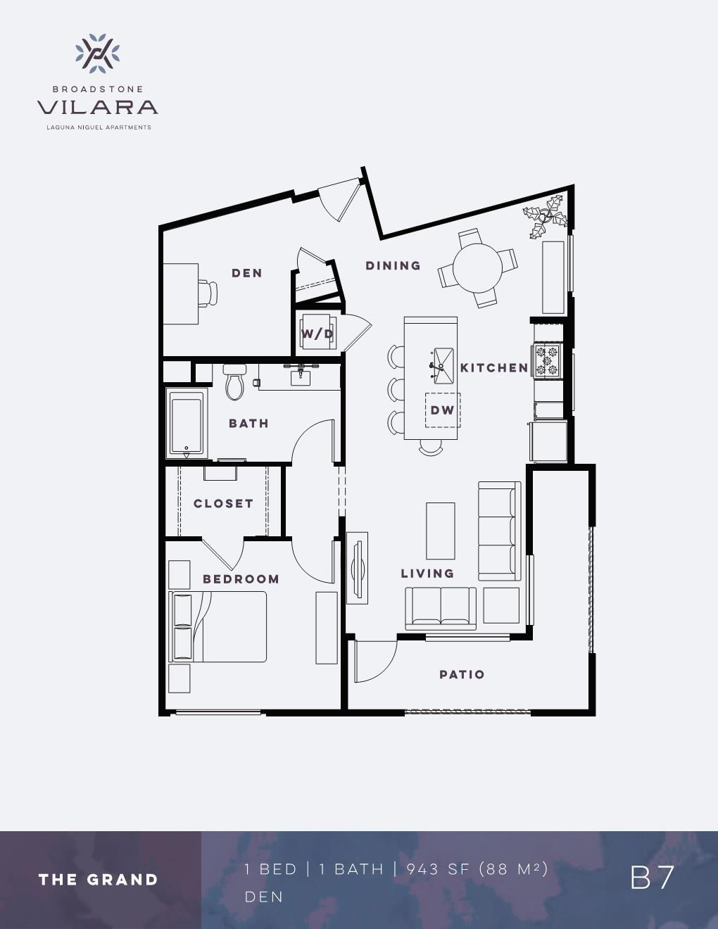 One Bedroom Den Apartment The Grand Broadstone Vilara In 2020 Floor Plans Apartment Floor Plans How To Plan