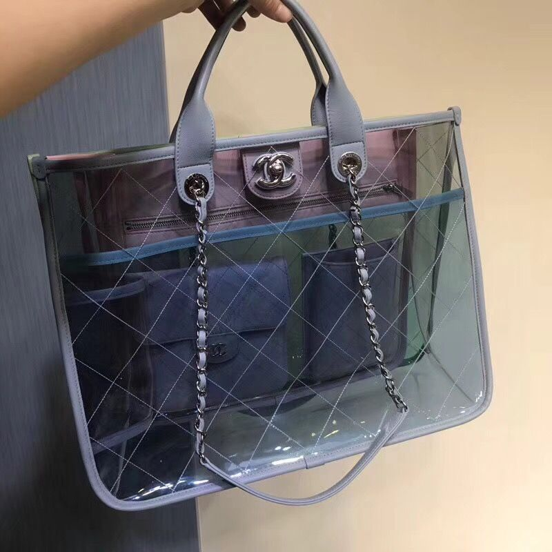 Chanel see through clear chain tote bag original leather version ... 1ffb933a70