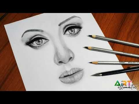 How to draw a realistic face step by step | Adele pencil drawing - YouTube