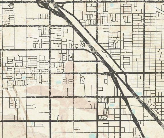 FRESNO CA Canvas Print California Vintage map Fresno ca City