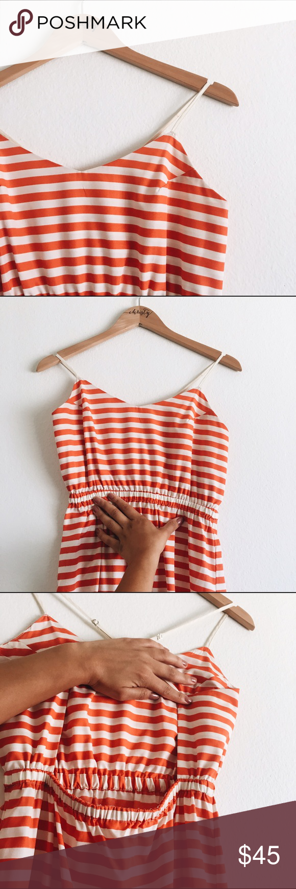 Urban Outfitters striped dress! Perfect for summer events! This orange/cream striped maxi has adjustable straps and an open back with an elastic feature on the back as well. Doesn't stretch much as it's 100% polyester. Urban Outfitters Dresses Maxi