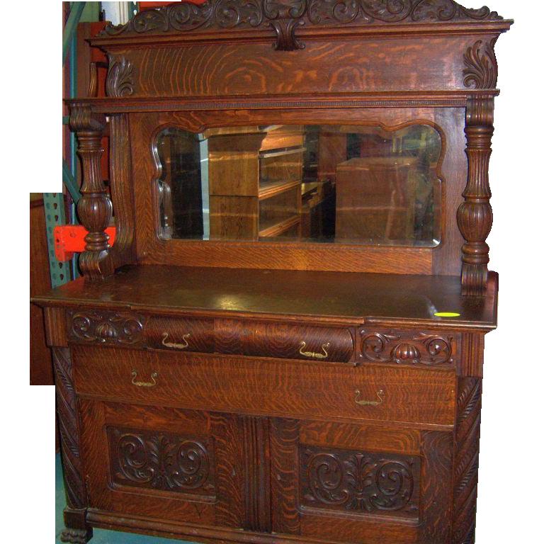 Oak Dining Room Hutch: Oak Sideboard Buffet, Mirror And Carvings, 1890