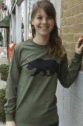 Women's T-shirt olive green - long sleeve - spring style fashion @ Black Bear Trading Asheville N.C.