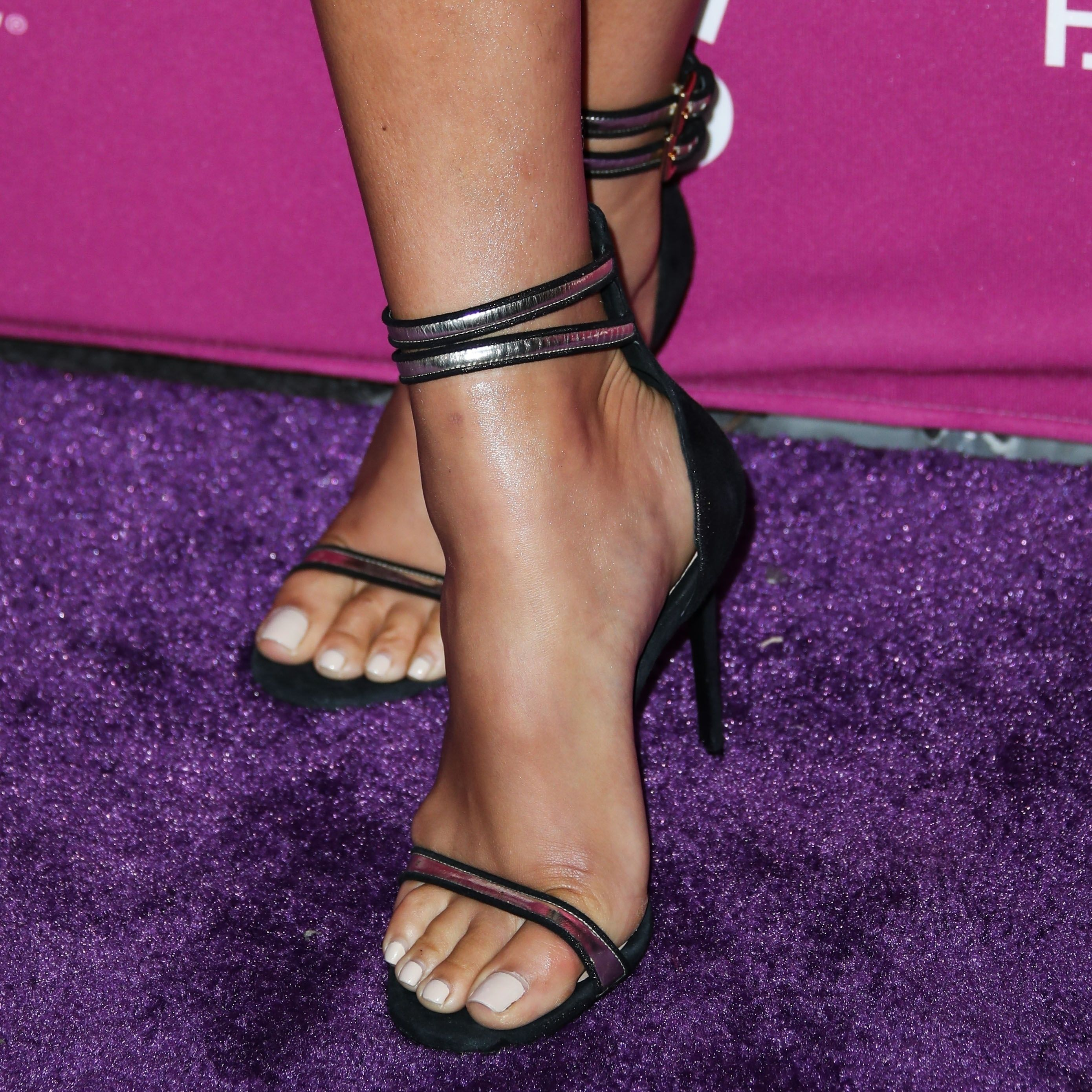 Shay Mitchell Feet in Strappies, Red Polish |starsfeet