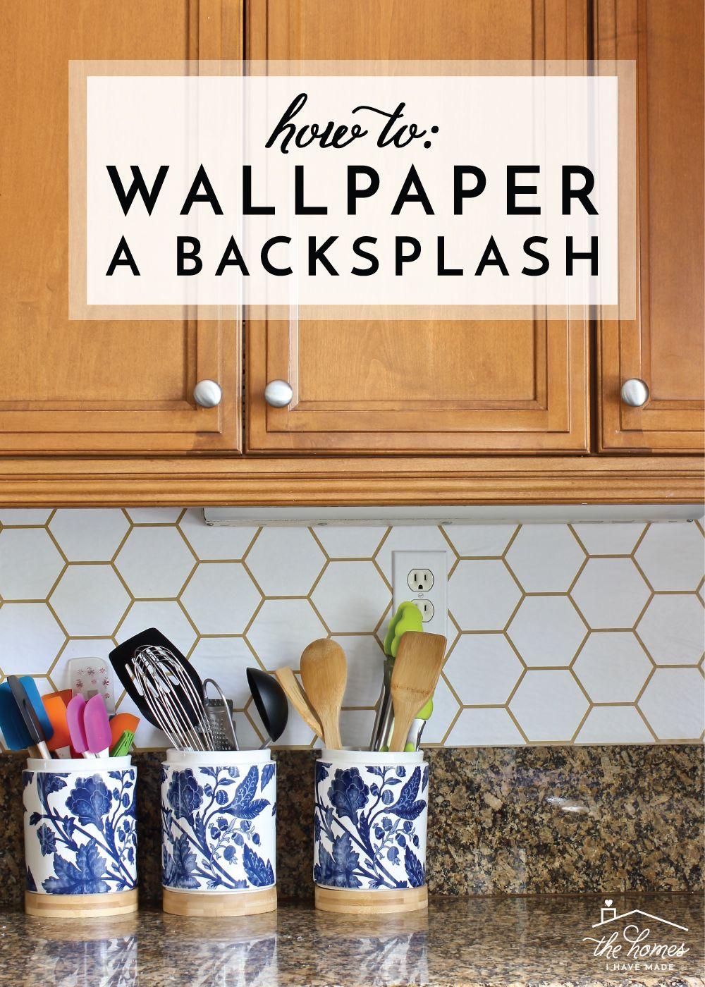 How To Wallpaper A Backsplash Wallpaper Backsplash Kitchen Kitchen Design Diy Kitchen Wallpaper
