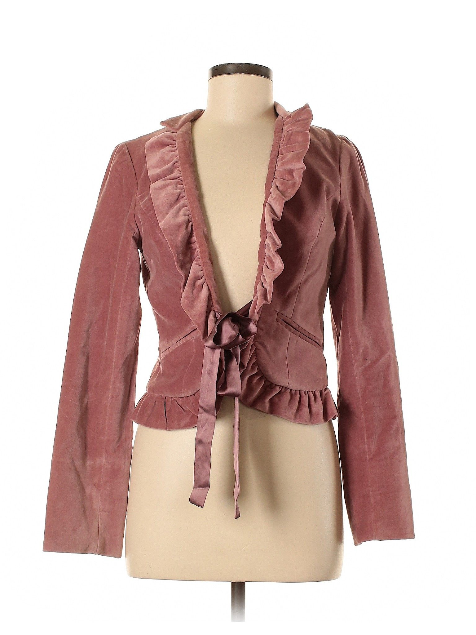 Liquid Blazer Pink Solid Women S Jackets Outerwear Size 6 Clothes Jackets For Women Second Hand Clothes
