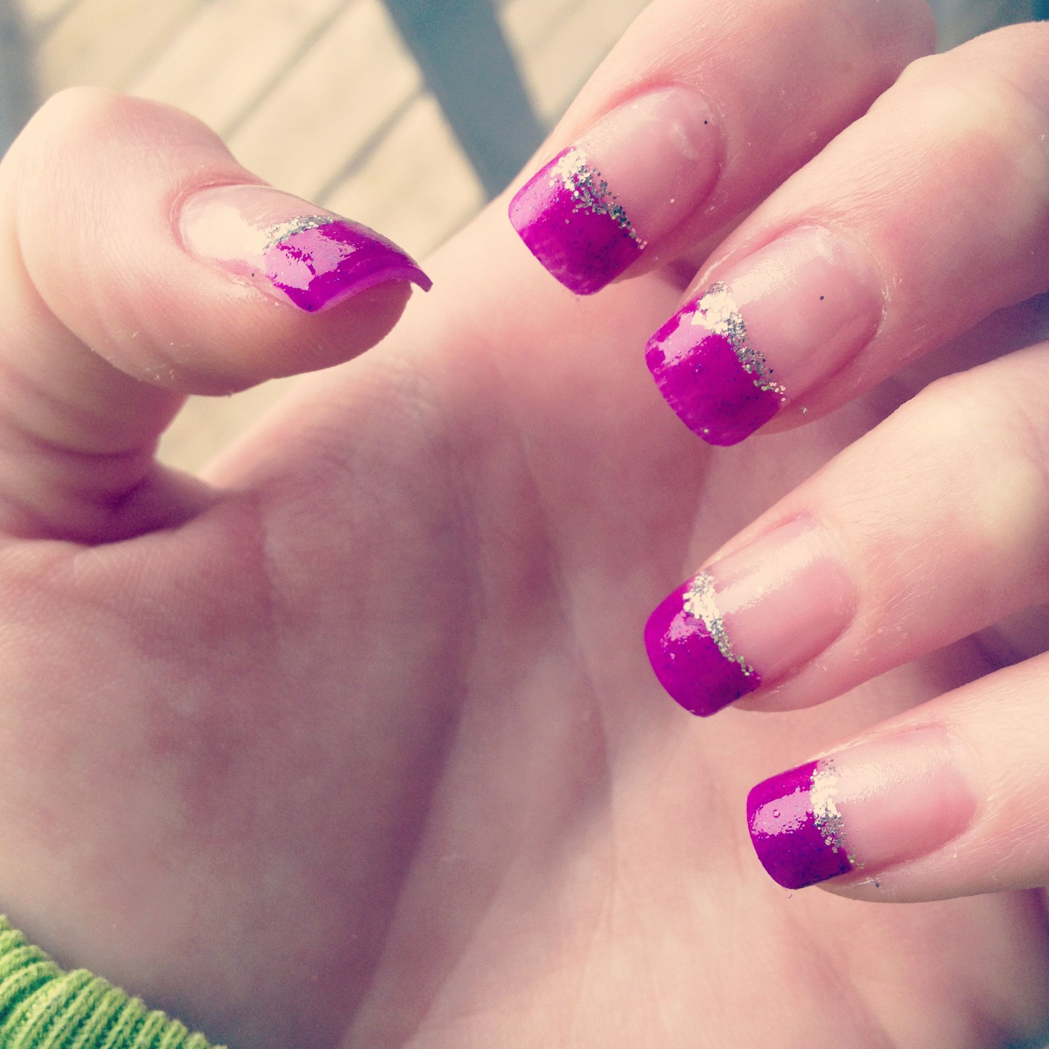 Purple tip fake nails. | All things nails | Pinterest