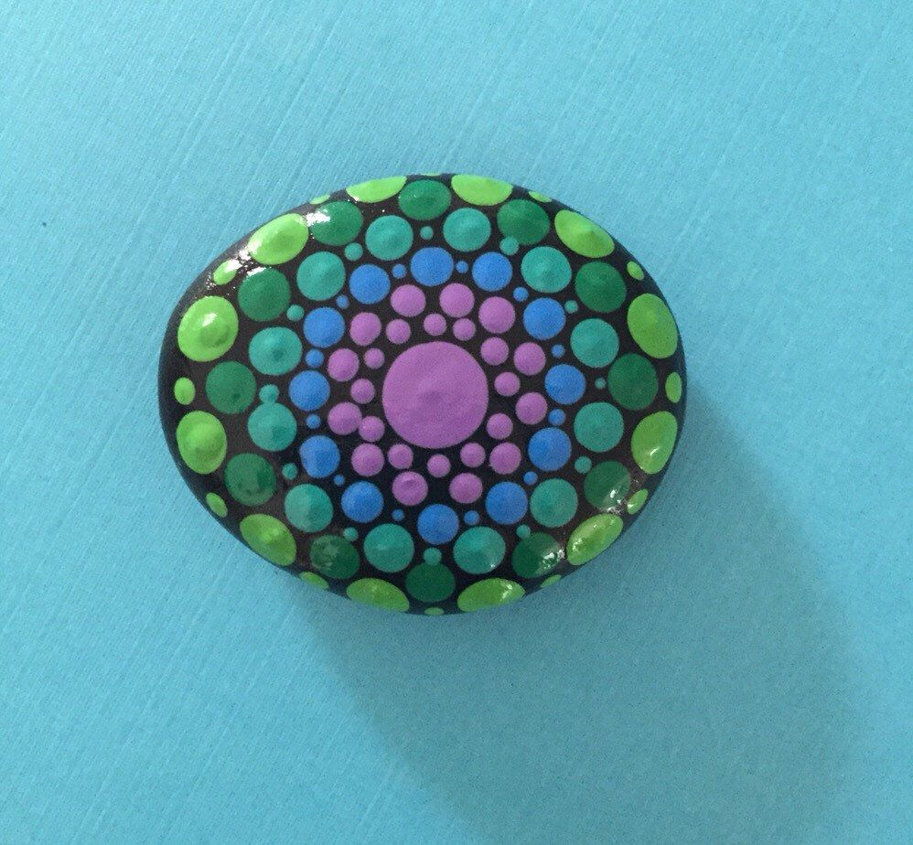 Mandala Painted Stone- small by FloridaFunshine on Etsy https://www.etsy.com/listing/235893080/mandala-painted-stone-small