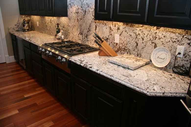 Black Cupboards, Bianco Antico Granite