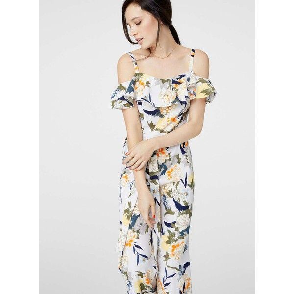 Womens Ruffle Belted Oriental Jumpsuit Miss Selfridge